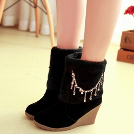 Ericdress Charming Furry Tassels Wedge Heel Ankle Boots
