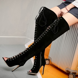 Ericdress Suede Lace up Peep Toe Thigh High Boots