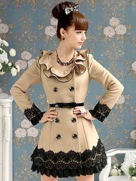 Ericdress Slim Color-Block-Lace-Patchwork-Mantel