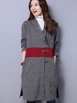 Ericdress Color Block Straight Asymmetric Casual Coat