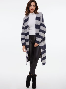 Ericdress Stripe Loose Cardigan Knitwear