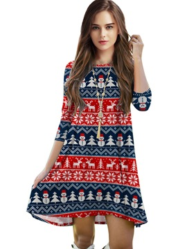 Ericdress Christmas Print Loose Casual Dress