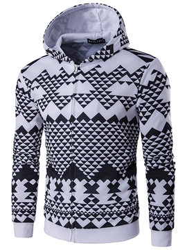 Ericdress 3D Geometric Pattern Zip Casual Men's Hoodie