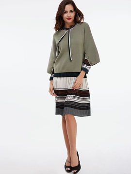 Ericdress Stripe Pleated Scoop Jacket Dress Suit