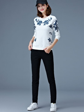 Ericdress Floral Print Long Sleeve Hoodie Pants Suit