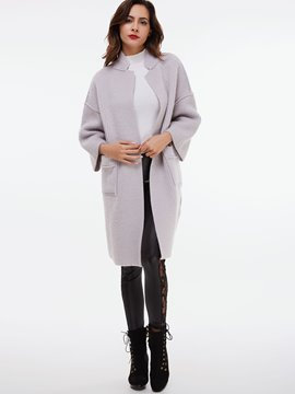 Ericdress Solid Color Cardigan Long Sleeve Knitwear