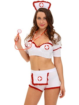 Ericdress Sexy Backless White Nurse Cosplay Costume