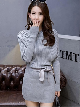 Ericdress Batwing Sleeve Patchwork Belt Sweater Dress