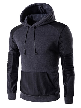Ericdress PU Patchwork Pullover Casual Men's Hoodie