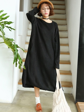 Ericdress Loose Solid Color Round Collar Maxi Casual Dress