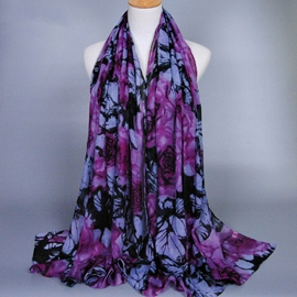 Ericdress Ink Painting Printed Deep Purple Scarf