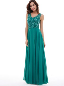 Ericdress A Line Chiffon Applique Beaded Floor Length Evening Dress