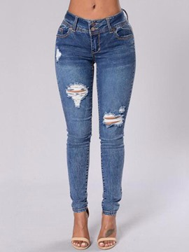 Ericdress Holes Pocket Skinny Jeans