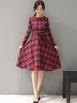 Ericdress Sweet Plaid Belt Pleated Casual Dress