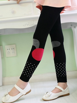 Ericdress Color bloque lunares niñas Leggings