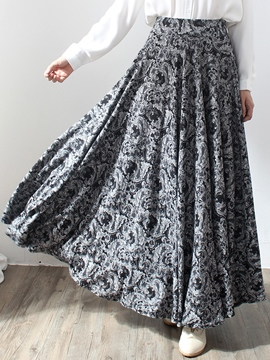 Ericdress Pleated Floral Print Expansion Maxi Skirt