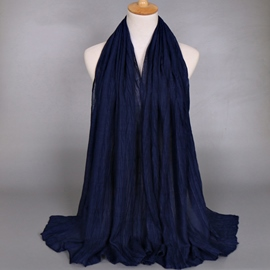 Ericdress Solid Color Pleated Design Voile Scarf
