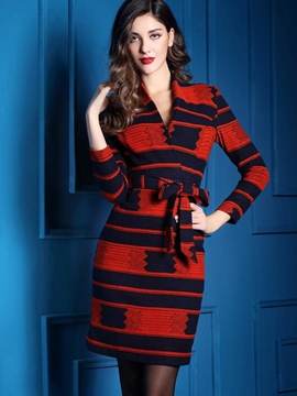 Ericdress V-Neck Lace-Up Strip Houndstooth Patchwork Sheath Dress
