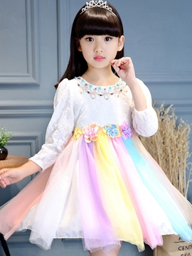 Ericdress Lace Color Block Bead Girls Princess Dress