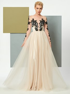 Ericdress Sexy Sheer Tulle Long Sleeve Applique Foor Length Evening Dress