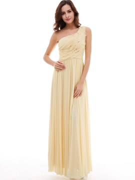 Ericdress A-Line Draped Pleats One-Shoulder Floor-Length Evening Dress