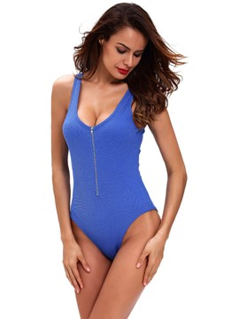 Ericdress Plain U-Neck Zipper Tight Teddy