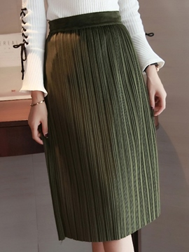 Ericdress OL Stripe Plain High-Waist Bodycon Skirt