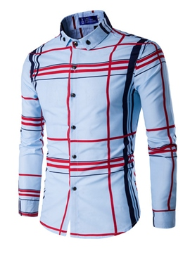 Ericdress Cross Stripe Long Sleeve Casual Men's Shirt