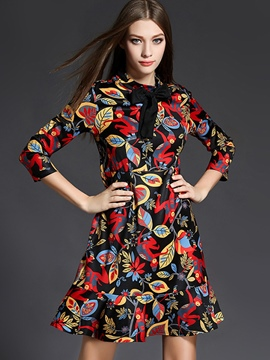 Ericdress Fashion Print Bowknot Falbala Patchwork Casual Dress