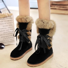 Ericdress Short Floss Lace-Up Mid-Calf Snow Boots