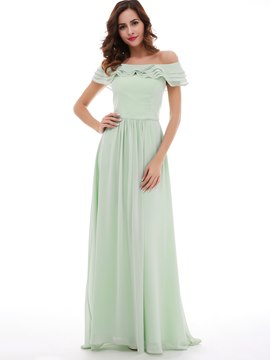 Robe de bal longue a-ligne mousseline Ericdress Off-The-Shoulder