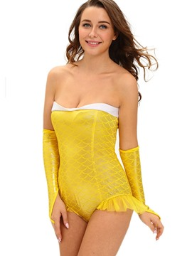 Ericdress Yellow Backless Mermaid Cosplay Costume