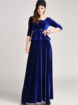 Ericdress Velvet Half Sleeve Pleated Expansion Maxi Dress