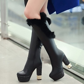 Ericdress Sequined Heel Furry Thigh High Boots