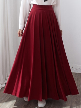 Ericdress Solid Color Pleated High-Waist Maxi Skirt
