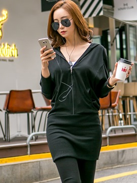 Ericdress Hooded Zipper Batwing Sleeve Bodycon Dress