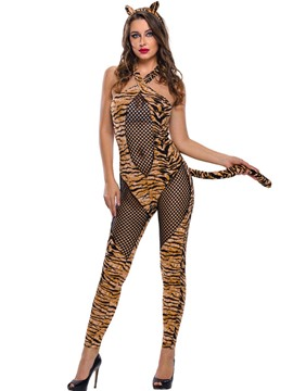 Ericdress See-Through Fishnet Tiger Cosplay Costume