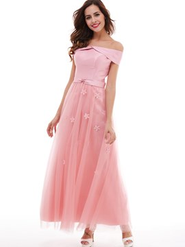 Ericdress A Line Off-The-Schulter Blumen lange Prom Kleid