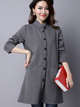 Ericdress Loose Single-Breasted Solid Color Trench Coat
