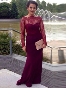 Ericdress Off-the-Shoulder Long Sleeves Button Lace Court Train Evening Dress