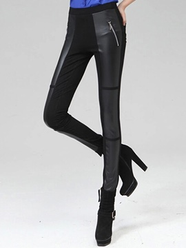Ericdress PU Zipper Leggings Pants