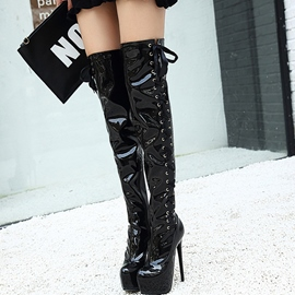 Ericdress Patent Leather Platform Ultra High Thigh High Boots