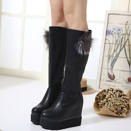 Ericdress Pom Platform Wedge Heel Knee High Boots