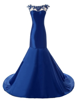 Ericdress Elegant Mermaid Bateau Cap Sleeves Beading Court Train Evening Dress