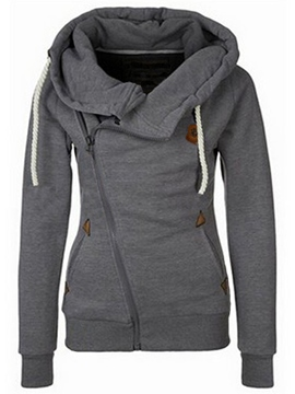 Ericdress Slim Plain Cardigan Cool Hoodie