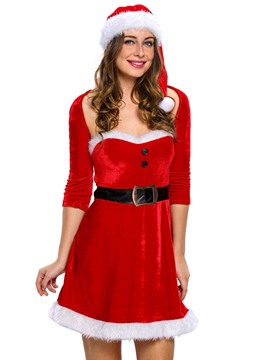 Ericdress Plain Three-Quarter Sleeve Belt Christmas Costume