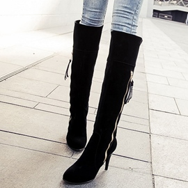 Ericdress Solid Color Suede Side Zipper Knee High Boots