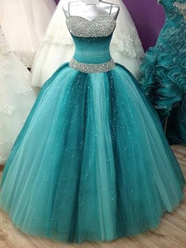 Ericdress Shinny Riemen Perlen Lace Up Ball Kleid Quinceanera Kleid