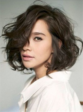 Ericdress Shag Lobs Loose Wavy Short Hairstyle Side Swept Fringes Lace Front Human Hair Wig 10 Inches