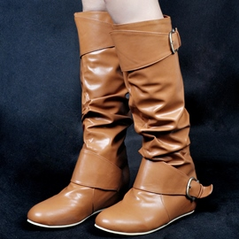 Ericdress Delicate Buckles Round Toe Knee High Boots